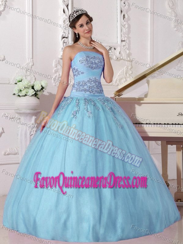 Cheap Floor-length Quinces Dresses in Tulle and Taffeta in Aqua Blue Color