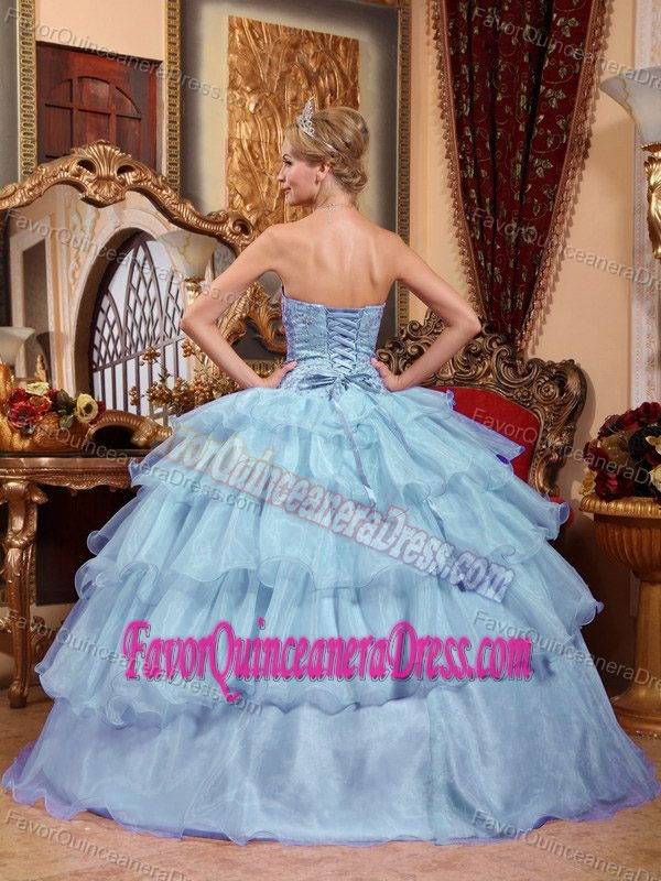 Graceful Strapless Quinceanera Dresses with Layers and Beads in Organza