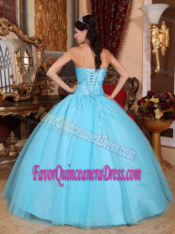 Popular Ruched and Beaded Quince Dress with Sweetheart in Tulle and Taffeta