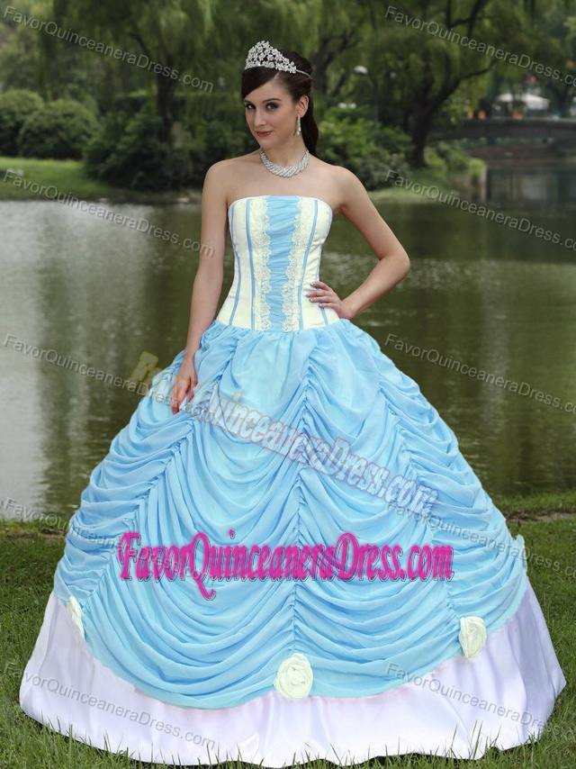 Yellow and Aqua Blue Quince Dresses with Ruches and Handmade Flowers 2013