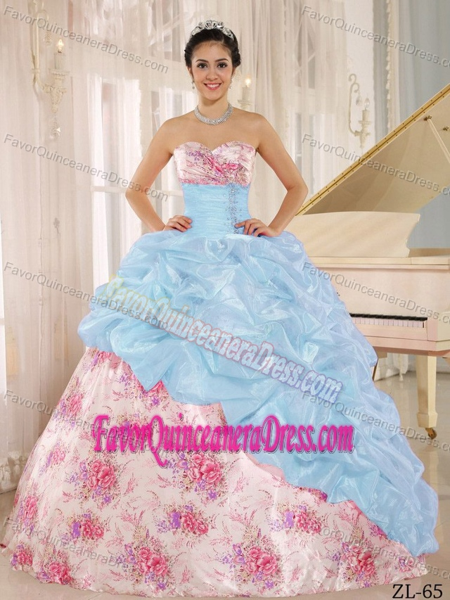 Unique Sweetheart Pickups Sweet Sixteen Quince Dresses with Printed Fabric