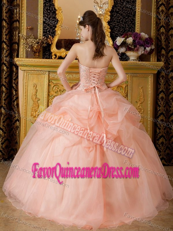 Champaign Beaded Strapless Sweet Sixteen Dresses Embellished with Pick-ups