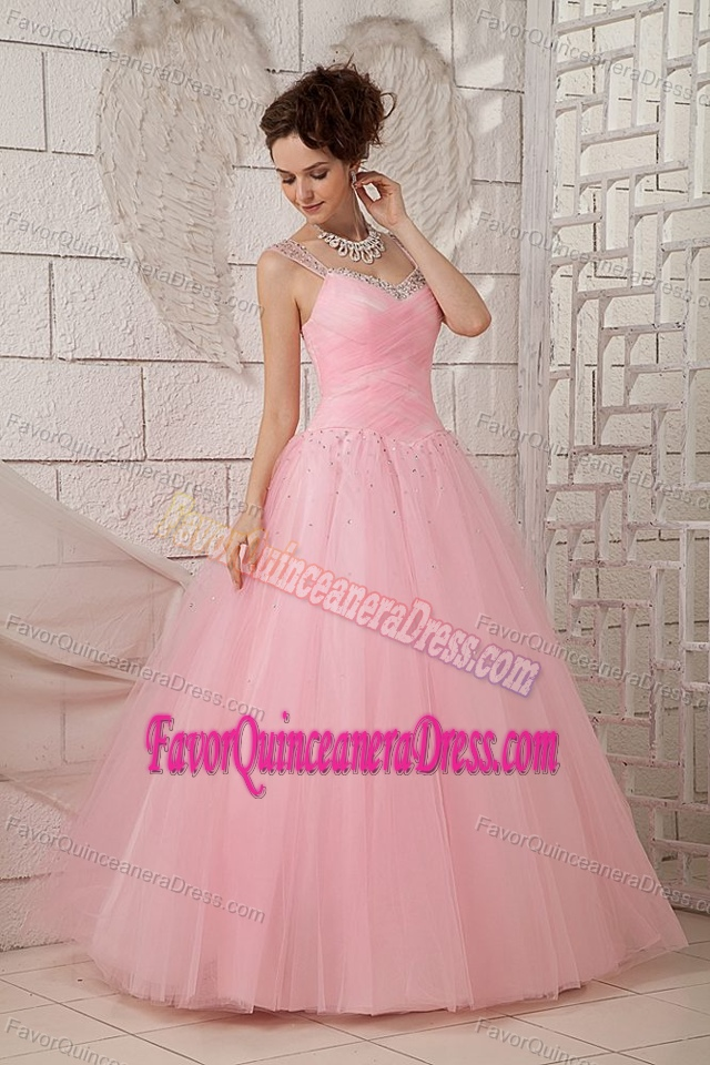 light pink aline dress for quinceanera made in tulle with