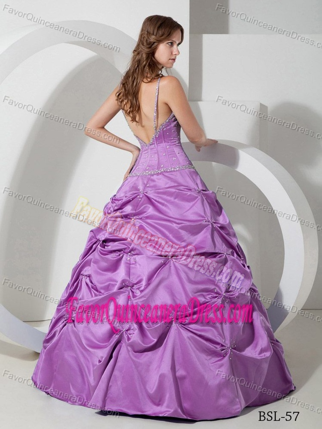 Beaded Spaghetti Straps Floor-length Purple Quinceanera Dresses with Pick-ups