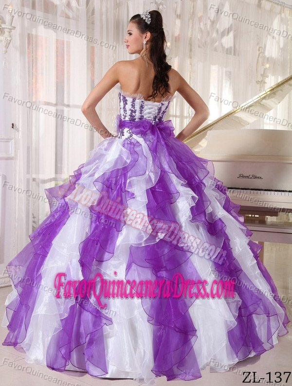 Purple and White Ball Gown Strapless Organza Quinceanera Dresses with Ruffles