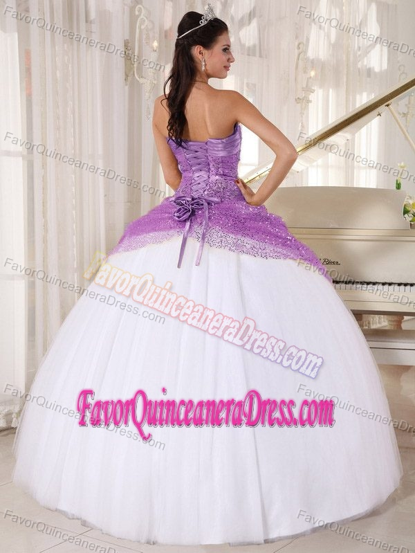 Pretty Halter Ball Gown Lavender Sequin and White Tulle Ruched Dress for Quince