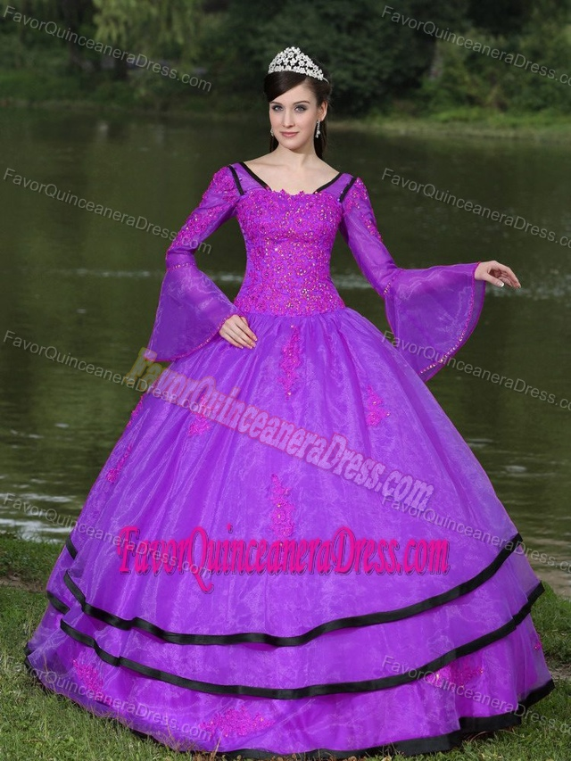 Modest Long Sleeves Purple Quinceanera Gown with Appliques in Organza