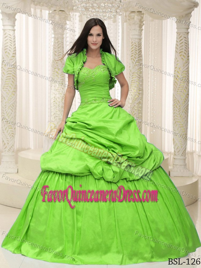 Lime Green Taffeta Sweetheart Appliques Quince Ball Gowns ...