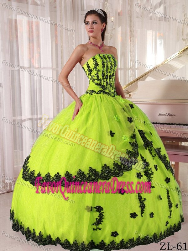 Elegant Strapless Appliques Plus Size Quinceanera Dresses In Lime Green