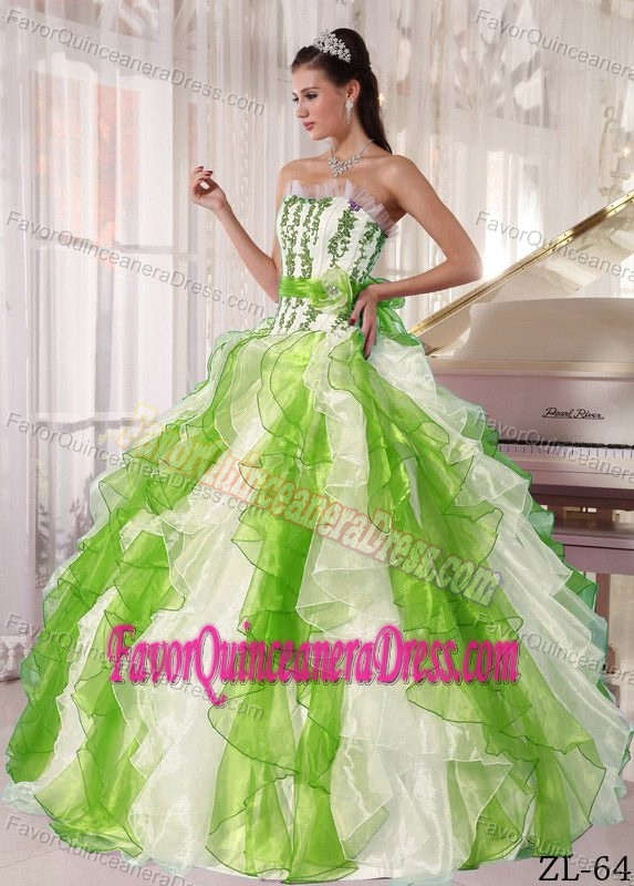 Affordable Colorful Ruffles Quince Dress with Strapless Organza Beading