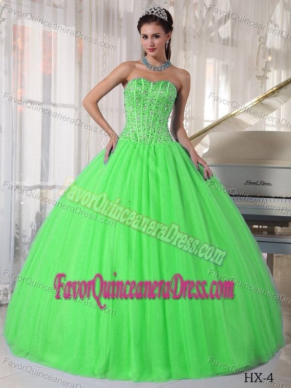 Clearance Beading Quinceanera Dress in Lime Green Sweetheart with Tulle