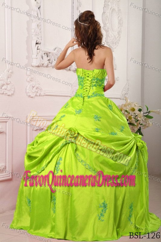 Lime Green Beading and Appliques Strapless Taffeta ...
