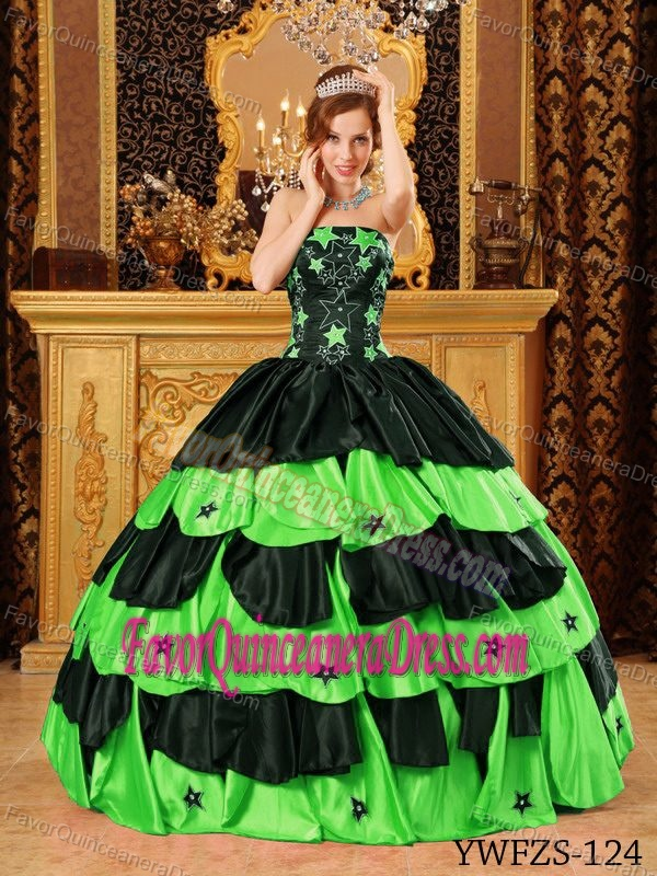 Gorgeous Beaded Sweet 15 Dress in Black and Lime Green Strapless Taffeta