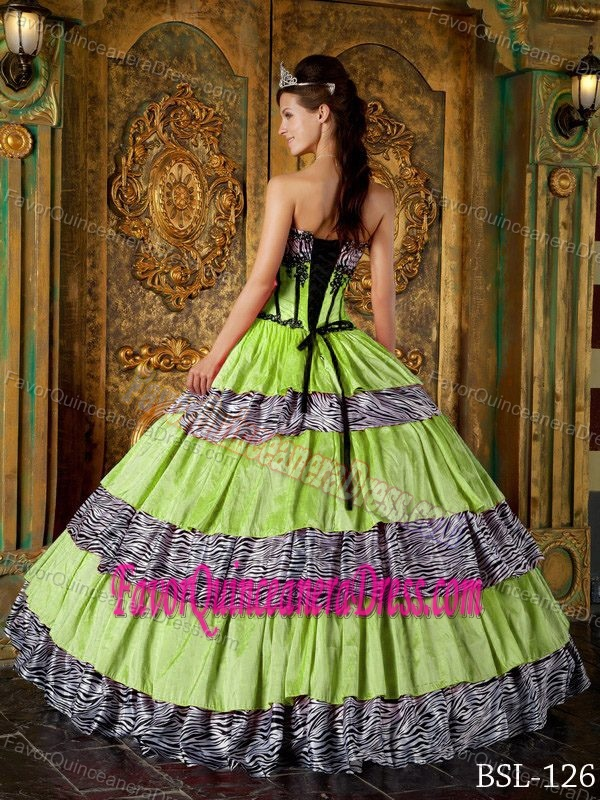 Pretty Lime Green Sweetheart Quinceanera Dresses with Zebra and Ruffles