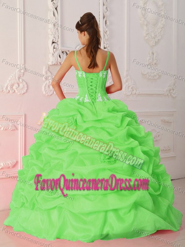 Beautiful Quinceanera Dres in Lime Green Straps Organza ...