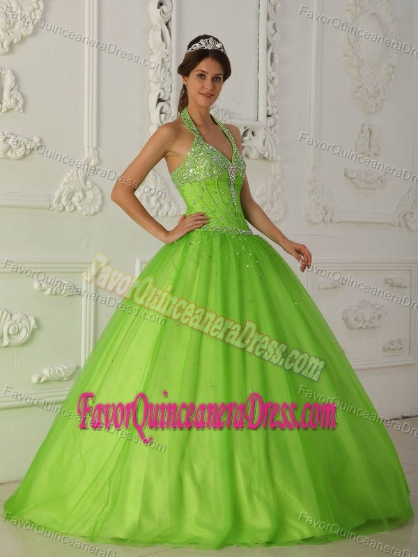 Recommended Tulle Quinceanera Dress in Lime Green with ...