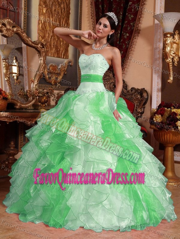 Ruched Sweetheart Organza Beading Dresses for Quinceanera in Multi-color