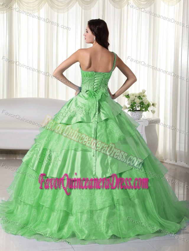 Beaded One Shoulder Green Organza Sweet Sixteen Dresses Layered on Sale