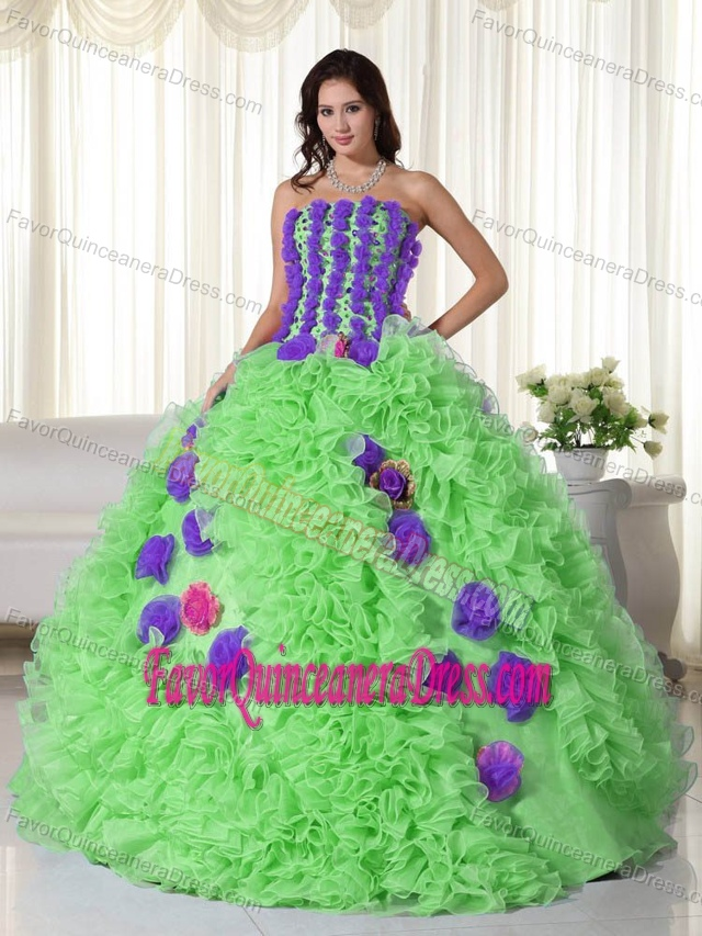 Spring Green and Purple Organza Quinces Dresses with Beadings