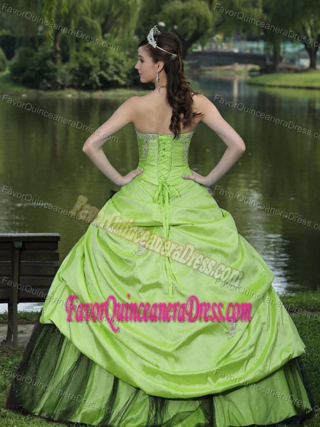 Made Taffeta Spring Green and Black Quinceanera Dresses under 250