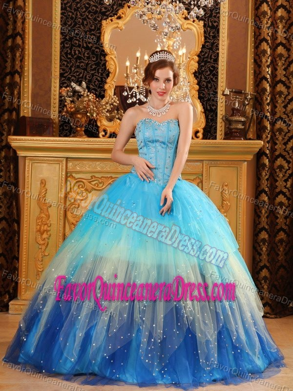 Beaded Ombre Sweetheart Floor-length Organza Quinceanera Dress with Paillettes