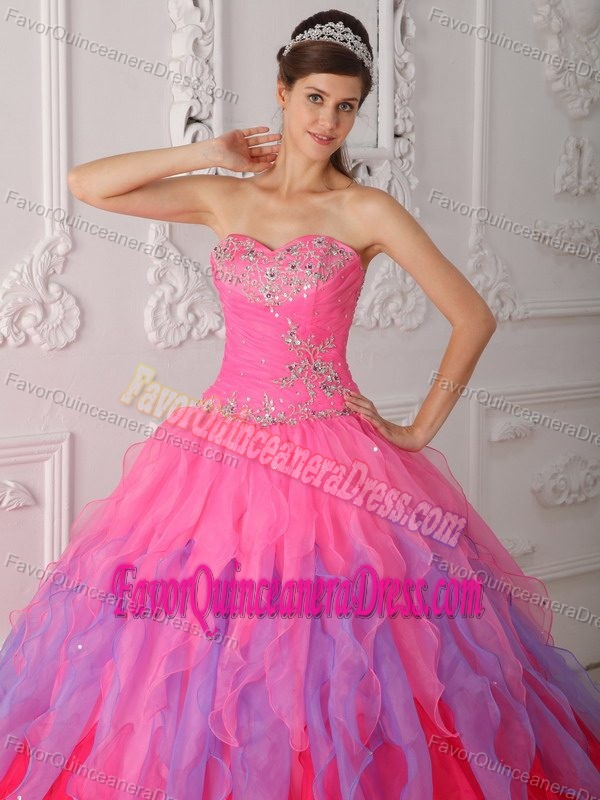 Sweetheart Multi-colored Organza Quinceanera Dresses with Beading and Ruffles