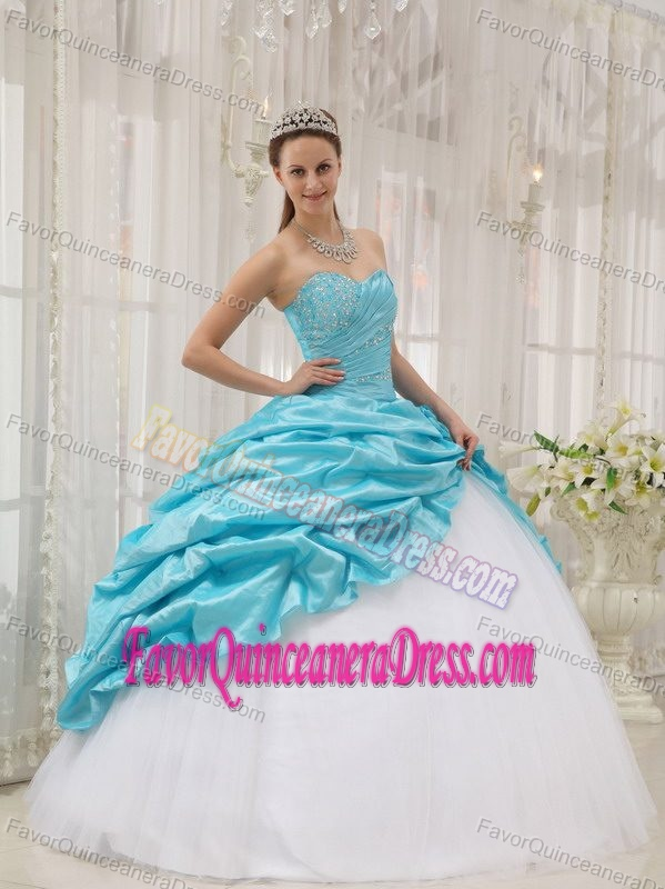 Blue Sweetheart White Tulle and Taffeta Beaded Quinceanera Dress with Pick-ups