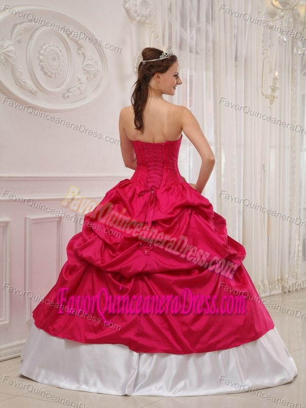 Sweetheart White and Fuchsia Taffeta Beaded Quinceanera Dresses with Pick-ups