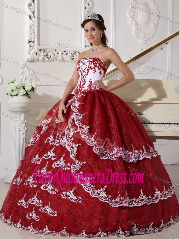 Perfect Wine Red and White Strapless Organza Quinceanera Dress with Appliques