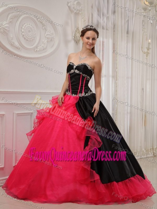 Black Satin and Red Organza Sweetheart Dress for Quince with Ruffles and Beading