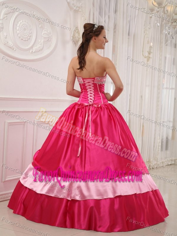 Elegant Strapless Hot Pink Floor-length Satin Quinceanera Dresses with Appliques