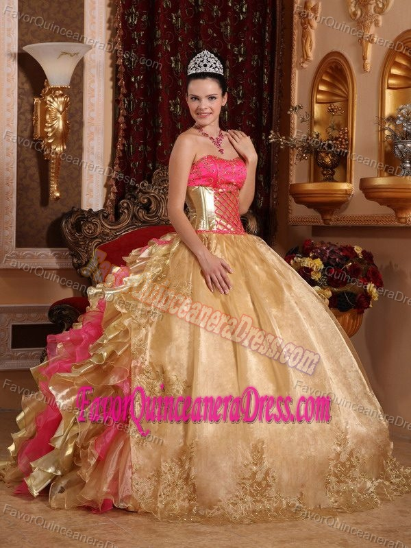 Exquisite Gold And Pink Strapless Organza Quinceanera