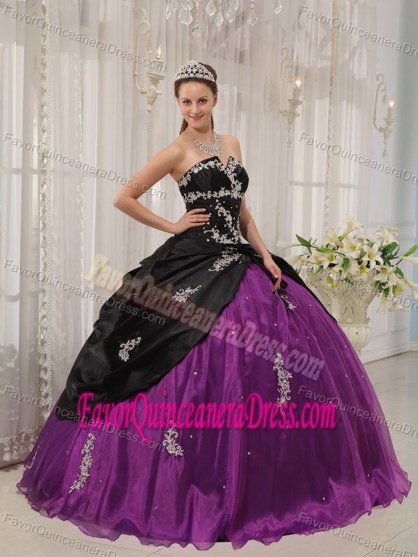 Strapless Black and Purple Appliqued Taffeta Dresses for Quince with Pick-ups