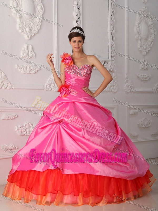 One-shoulder Pink Taffeta and Red Organza Quinceanera Dresses with Pick-ups