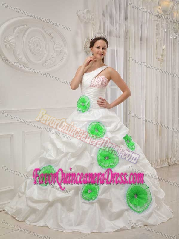 One-shoulder Beaded White Taffeta Quinceanera Dress with Pick-ups and Flowers