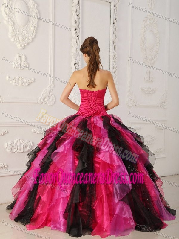 Multi-colored Strapless Organza Dresses for Sweet 16 with Appliques and Ruffles