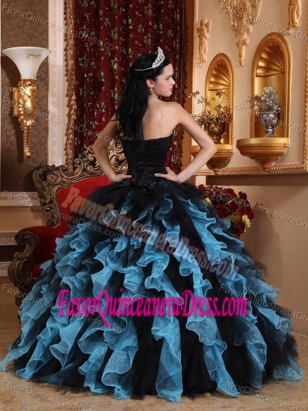 Exclusive Beaded Sweetheart Black and Blue Ruffled Organza Quinceanera Dress
