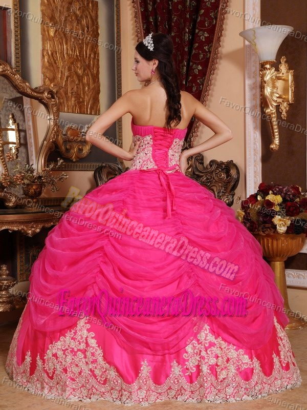 Brand New Hot Pink Organza Dress for Quinceanera with Lace Appliques