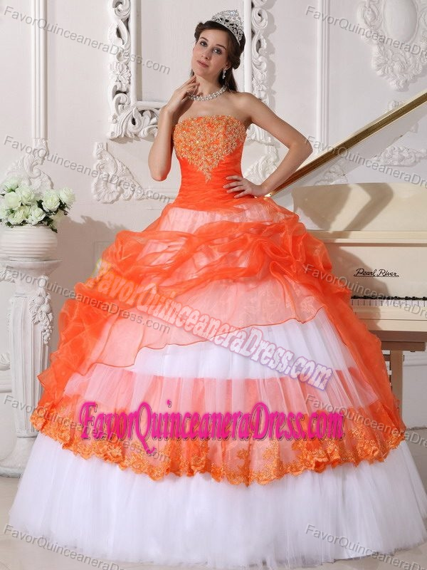 Brand New Orange and White Quinceanera Dress with Appliques in Organza