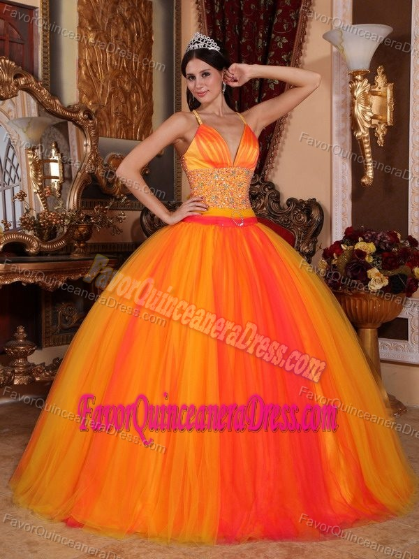 New Arrival Orange Red Tulle Beaded Sweet Sixteen Dress with Crisscross