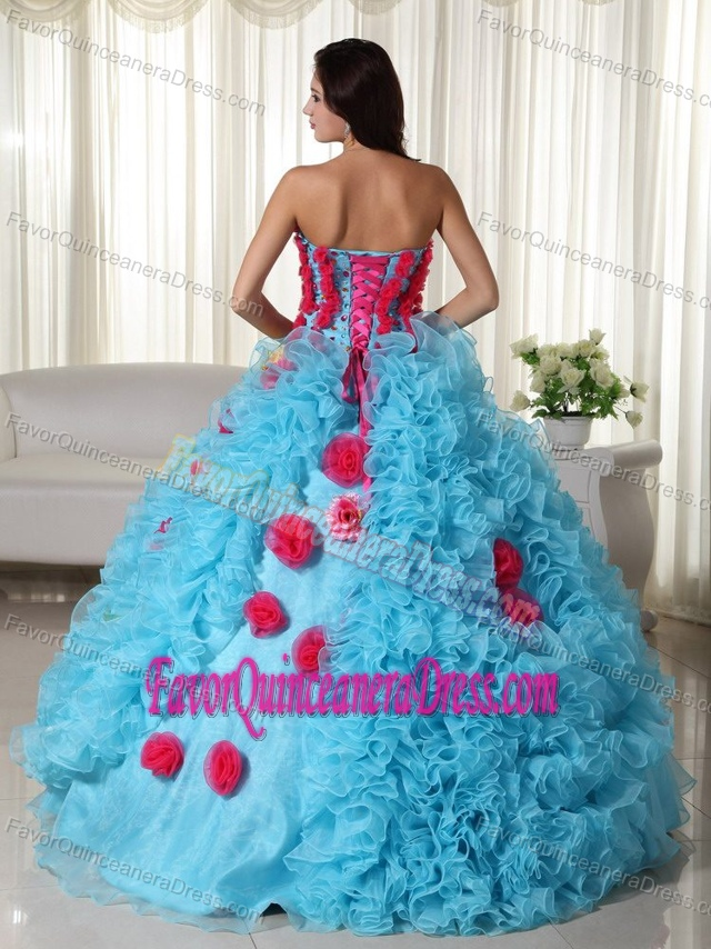 New Style Aqua Blue Organza Quinceanera Gowns with Flowers and Ruffles