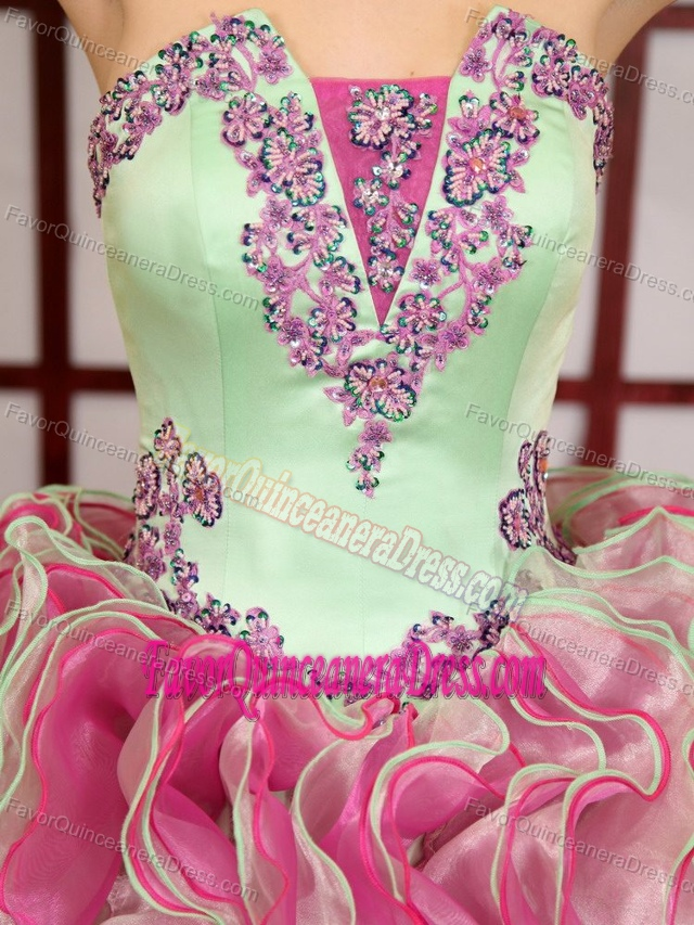 Perfect Green and Rose Pink Dress for Quinceanera with Ruffles in Organza
