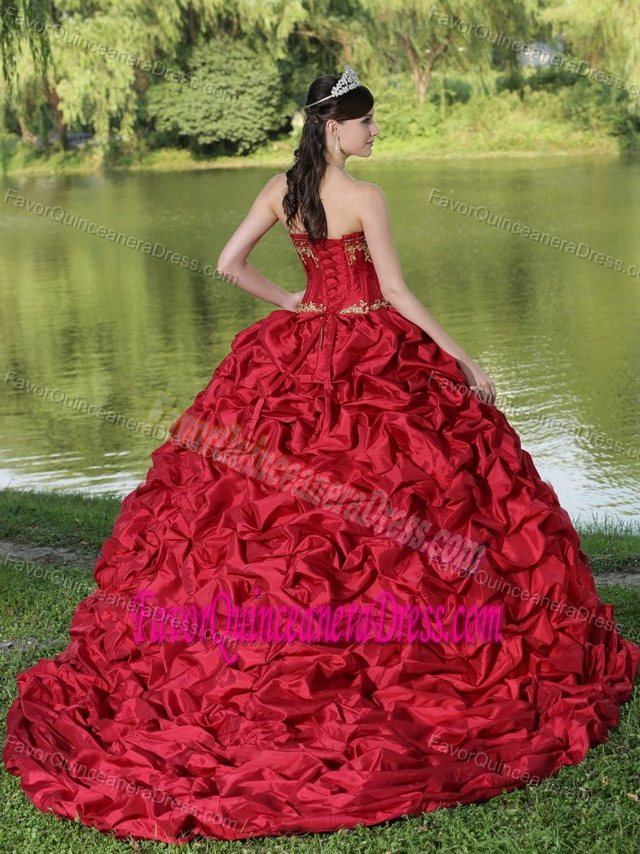 New Red and Yellow Brush Train Taffeta Quinceanera Dress with Pick-ups