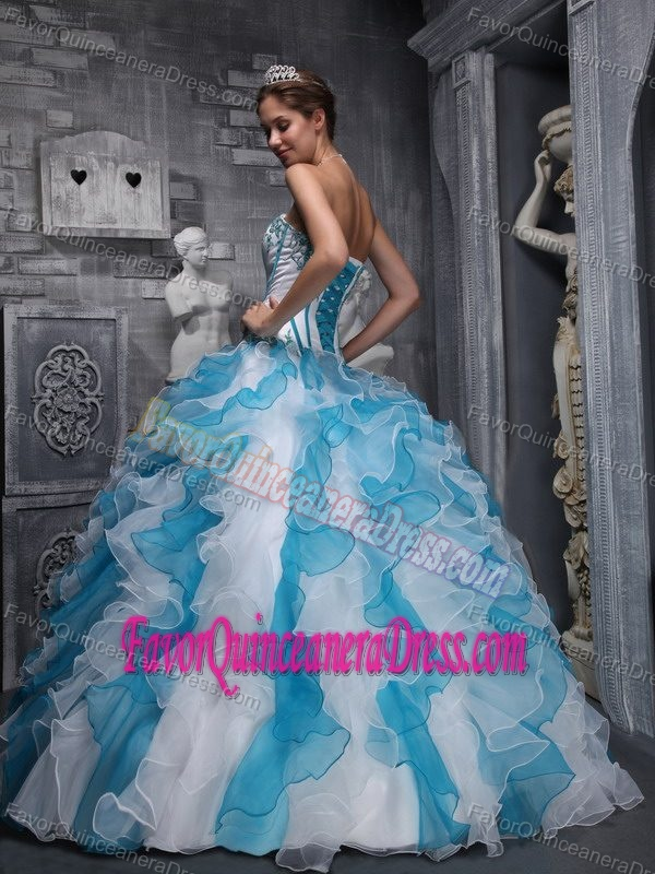 Perfect White and Blue Taffeta and Organza Quinceanera Gowns with Ruffles
