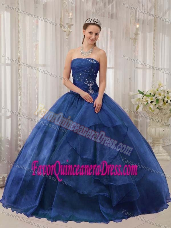 Floor-length Beaded Blue Ball Gown Strapless Quinceanera Dress in Organza