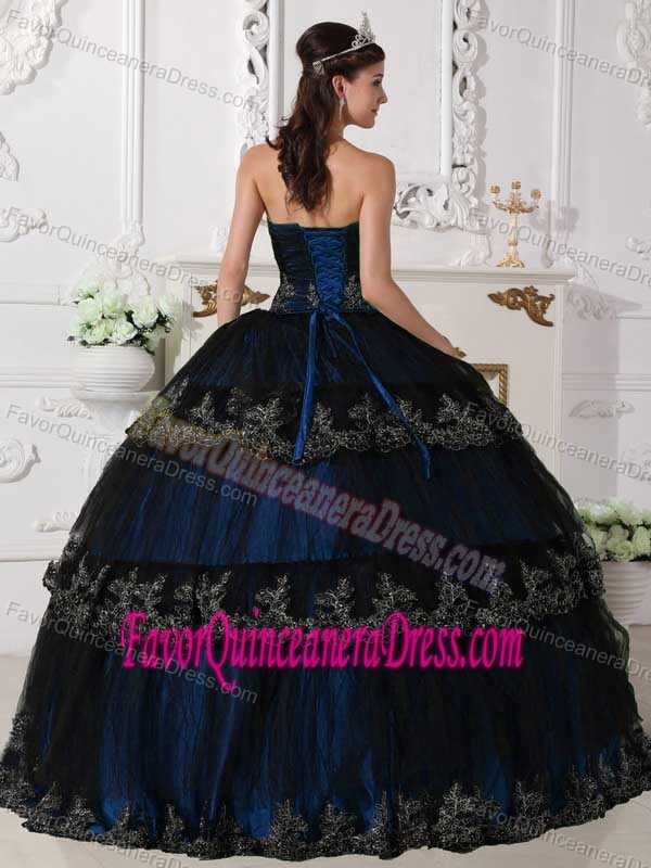 Taffeta and Tulle Blue Strapless Floor-length Quinces Dresses with Appliques