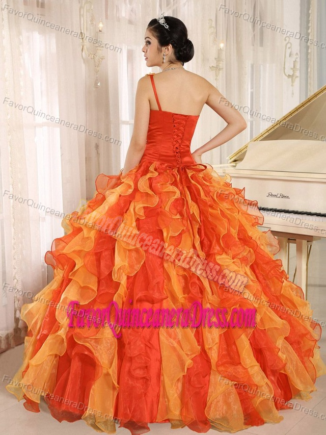 Best Orange One Shoulder Beaded Ruffled Quinceanera Dress in Organza