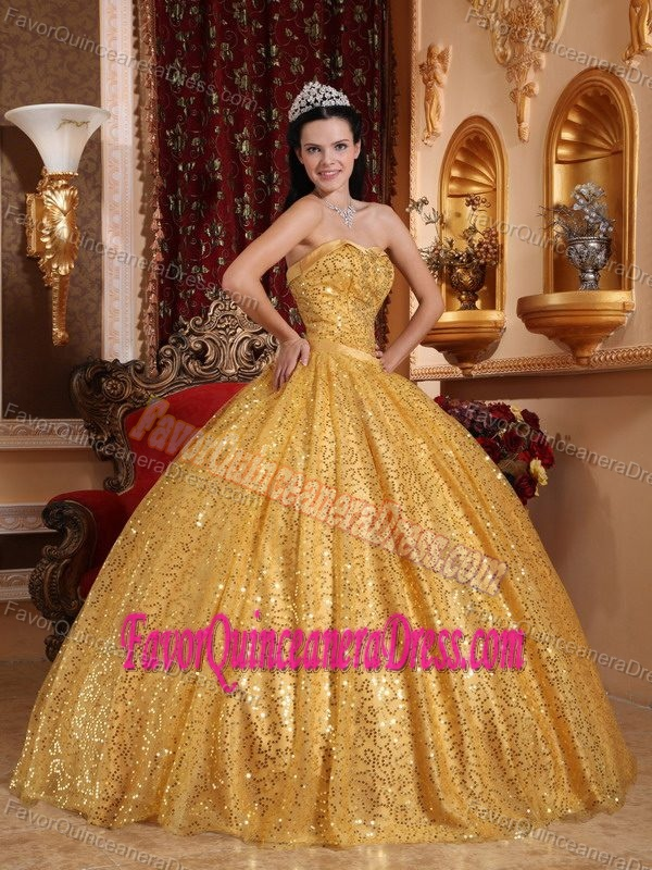 f4e859129bf Most Popular Sequin Gold formal Sweet 15 Dresses Floor-length for Sale