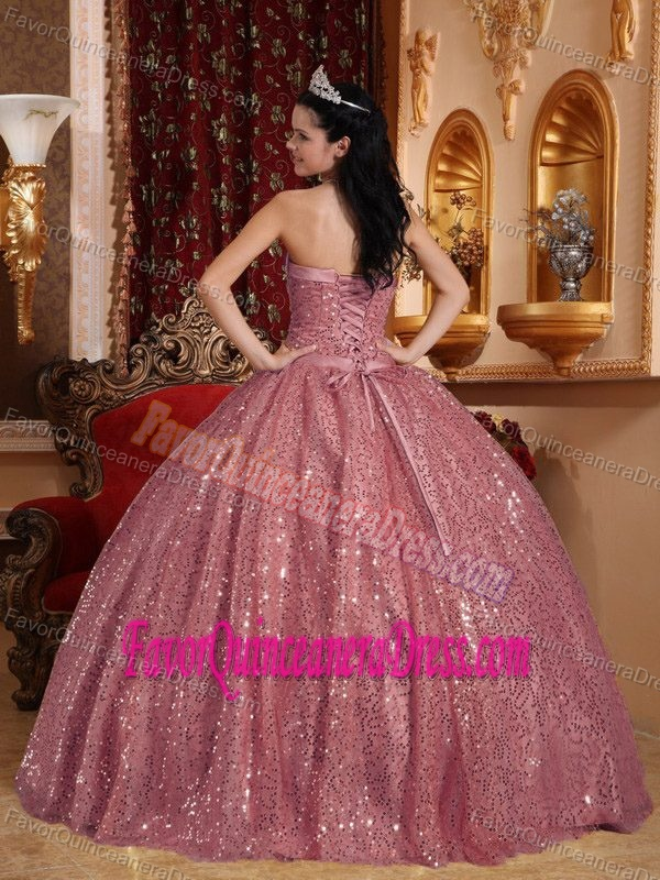 Shimmering Sequin Pink Ball Gown Quinceanera Dress for a Cheap Price