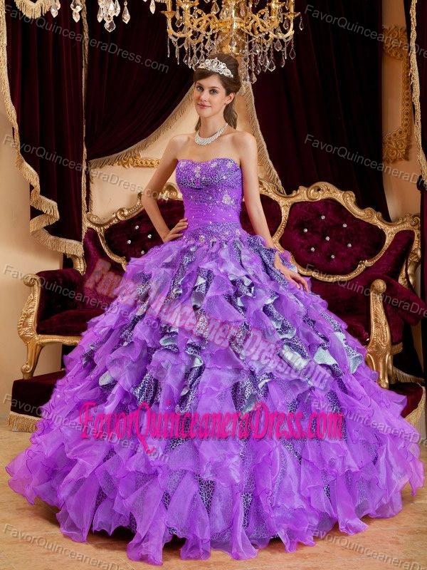 Surprising Leopard Print Purple Ruffled Ball Gown Quince Dress in Organza